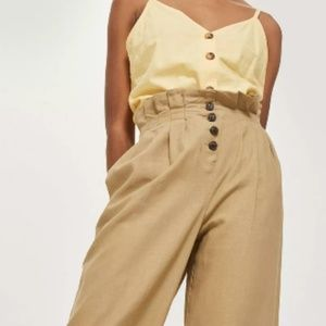 TOPSHOP - Button Cropped Wide Leg Trousers